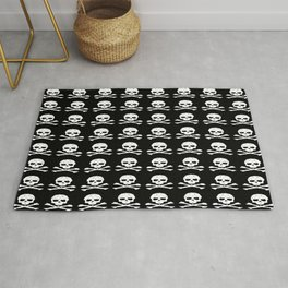 Skull and XBones in Black and White Rug
