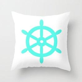 Ship Wheel (Turquoise & White) Throw Pillow