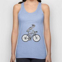 Human skeleton riding racing bicycle Unisex Tank Top