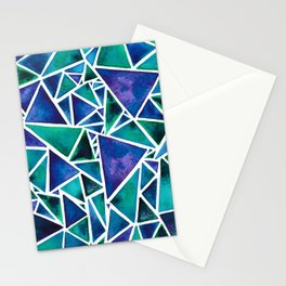 Geometric Turquoise and Blue Triangles Stationery Cards