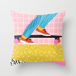 Chavvy - memphis skateboarder long boarding retro patterns 1980's trend vibes socal cali beach life Throw Pillow