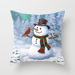 Cute Happy Christmas Snowman with Birds Throw Pillow