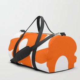 Orange Retro Flowers White Background #decor #society6 #buyart Duffle Bag