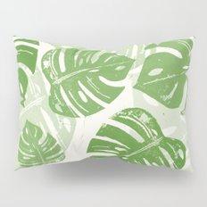 Linocut Monstera Leaf Pattern Pillow Sham