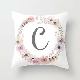 Floral Wreath - C Throw Pillow