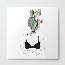 Ho la testa tra i Cactus Metal Print