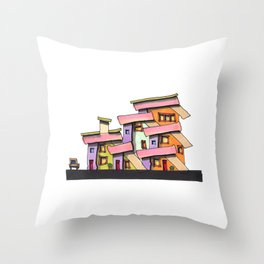Funky Colors House With Car 69 Throw Pillow