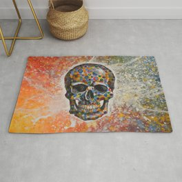 Abstract modern art painting ... Skull Rug