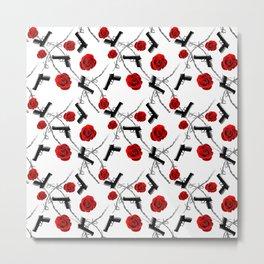 Roses Barbed Wire Guns Pattern Love Is War Metal Print