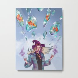 A Witch and her Flying Fish Metal Print
