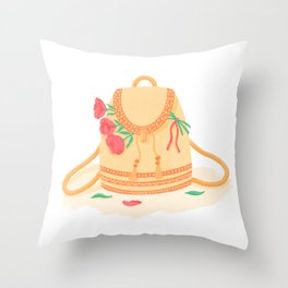 Orange schoolbag in boho style with bright pink peonies Throw Pillow