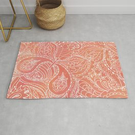 Lacey Pattern on Coral Rug