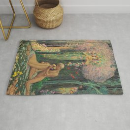 'A Man and a Woman in the Forest with Angels' Floral Landscape by Charles Holloway Rug