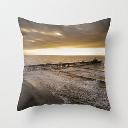 Folly Beach Pier in Gold Throw Pillow