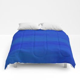 Subtle Cobalt Blue Waves Pattern Ombre Gradient Comforters