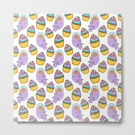 Cute sweet adorable Kawaii cats, funny colorful yummy cupcakes white pattern design. Space suits and astronauts. Metal Print