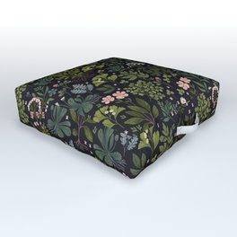 Herbarium ~ vintage inspired botanical art print ~ black Outdoor Floor Cushion