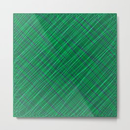 Wicker ornament of their blue threads and green intersecting fibers. Metal Print
