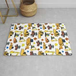Construction Vehicles Pattern Rug