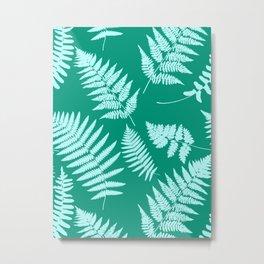 Woodland Fern Pattern, Turquoise and Aqua Metal Print