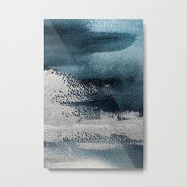 Navy Blue Silver Gray Abstract Painting Metal Print