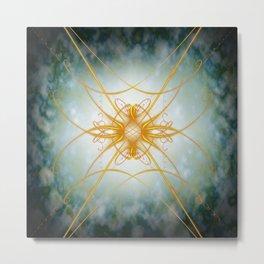 Gold filligree in space Metal Print