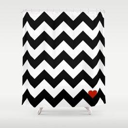 Heart & Chevron - Black/Classic Red Shower Curtain