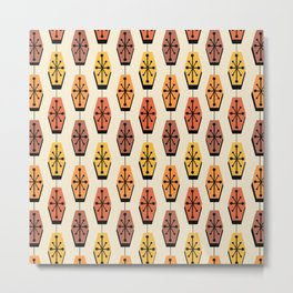 Mid Century Modern Hexagons Autumn Metal Print