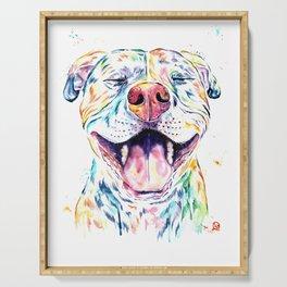 Pit Bull, Pitbull Watercolor Pet Portrait Painting - Tango Serving Tray
