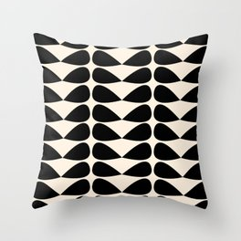 Mod Leaves Mid Century Modern Abstract Pattern in Black and Almond Cream Throw Pillow