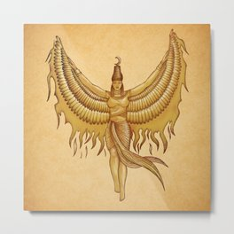 Isis, Goddess Egypt with wings of the legendary bird Phoenix Metal Print