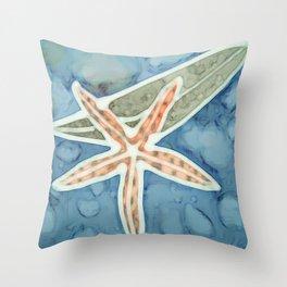 Starfish and Kelp Design Ilustration Throw Pillow