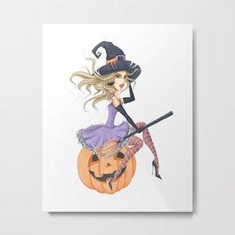 Beautiful Witch on The Pumpkin Metal Print