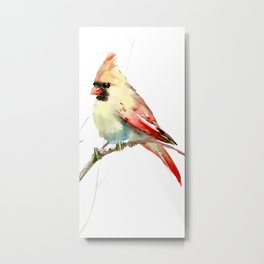 Northern Cardinal (female Cardinal bird) Metal Print