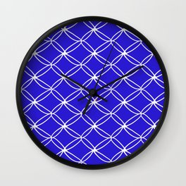 Royal Blue and White Pattern Wall Clock