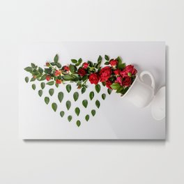 Reative image of white cup with red roses Metal Print