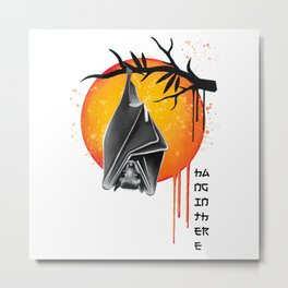 Hang in there cute baby bat at tree support  Metal Print