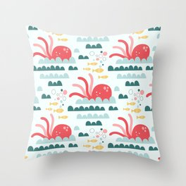 Cute octopus and fish Throw Pillow