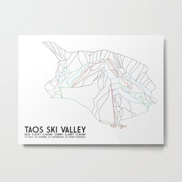 Taos Ski Valley, NM - Minimalist Trail Map Metal Print