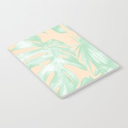 Tropical Palm Leaves on Pastel Coral II Notebook