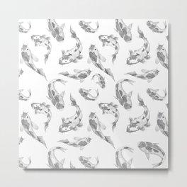 Cute gray white watercolor oriental koi fish pattern Metal Print