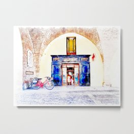Teramo: bicycles and pharmacy under the arcades Metal Print