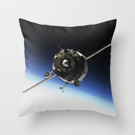 The Soyuz TMA-16 spacecraft approaches the International Space Station Oct 2 2009 Throw Pillow