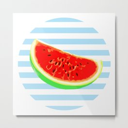 Watermelon, Summer Poster, Summer colors, blue, rounded Metal Print
