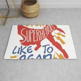 "This ""Even Superheroes Like to Read"" For Any Elementary Kindergarten Student Teacher T-shirt Rug"