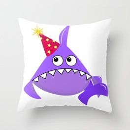 Sad party shark, Violet shark, Baby shark, Funny shark, Shark logo, Big eyes Shark vector, Shark svg Throw Pillow