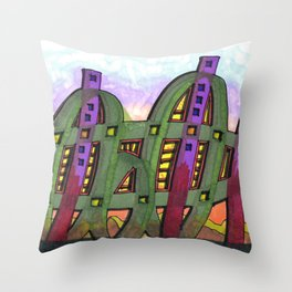 Abstract Cactus Architectural Design 84 Throw Pillow