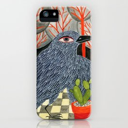 Bird with cactus iPhone Case