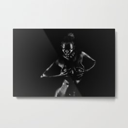 Portrait of a black naked girl   Bodypainting Metal Print