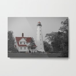 Old North Point Lighthouse Milwaukee Selective Color Red Lake Michigan Light Station Wisconsin Metal Print